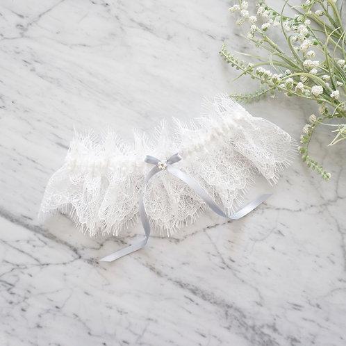 dusty blue bridal garter