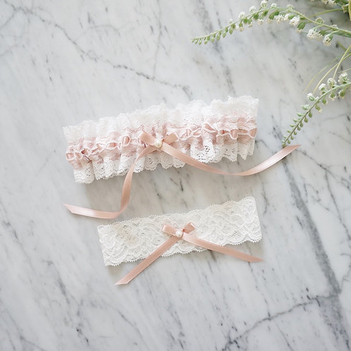 pink lace bridal garter set