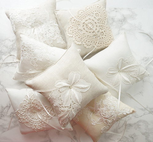 Linen Wedding Ring Pillow with Coral Chiffon Flower Bridal Robes