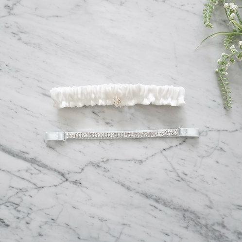white silk bridal garter set