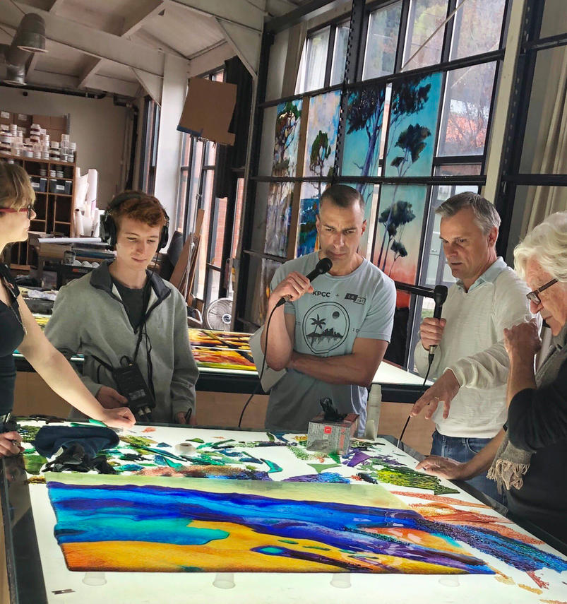 Producing in the field with KPCC host A Martínez  at Judson Stained Glass Studios in South Pasadena, CA