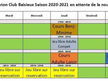 Planning saison 2020-2021 (début de saison)