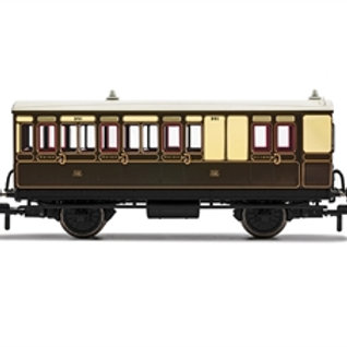 Hornby R40114 4 wheel brake 3rd 301 in GWR chocolate and cream - with lights