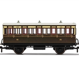 Hornby R40112 4 wheel 3rd 1889 in GWR chocolate and cream - with interior lights
