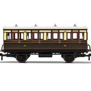 Hornby R40065 4 wheel 1st 143 in GWR chocolate and cream - Era 2/3