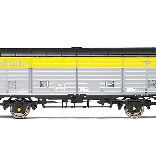 "Hornby R6984 ZRA civil link van DC200488 in Civil Link ""Dutch"" grey and yellow"