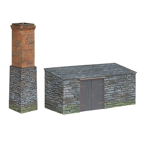 Bachmann Branchline 44-0106 Narrow Gauge Slate built boiler house and Chimney