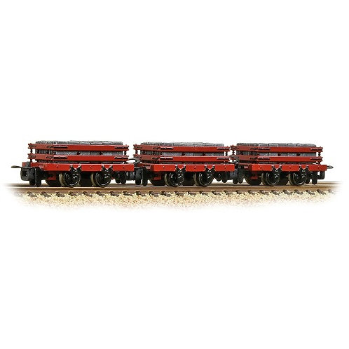 Bachmann Narrow Gauge 393-076 4 wheel slate wagons (red with load)