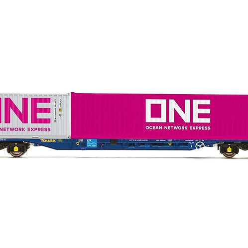 Hornby R6956 KFA Intermodal wagon in Touax livery with ONE containers