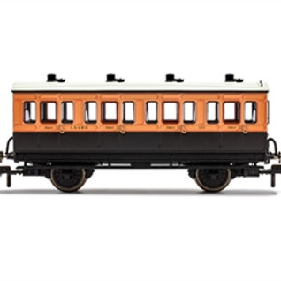 Hornby R40107 4 wheel 1st 123 in LSWR brown and umber - with interior lights