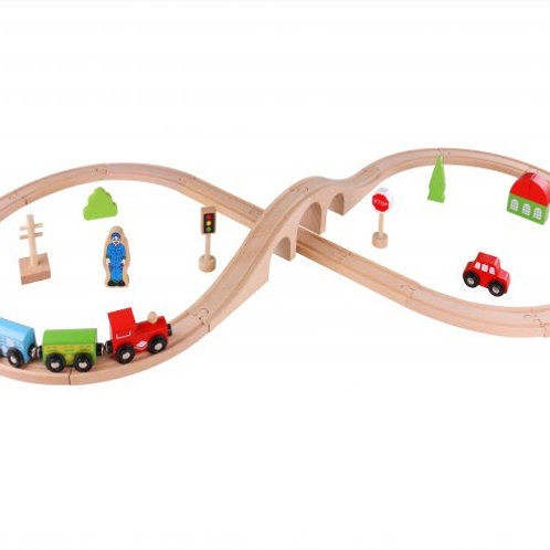 Tooky Wooden 30 Piecer Train Set