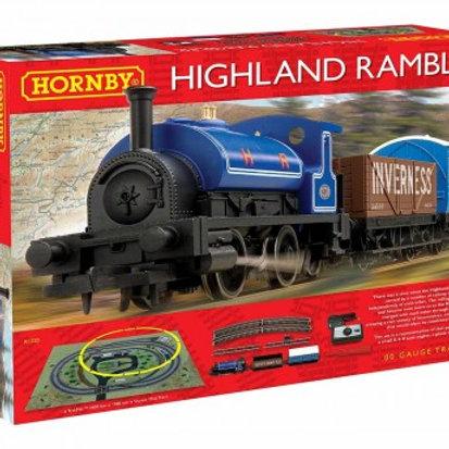 Hornby R1220 Highland Rambler train set with Class 0F 'Pug' 0-4-0ST in HR blue w