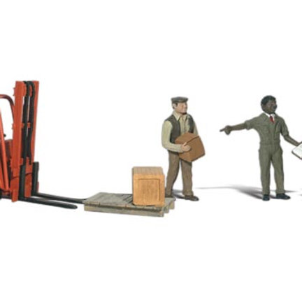 N Gauge Figures Workers with Forklift