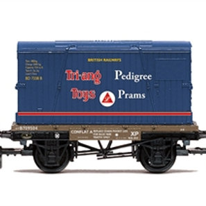 Hornby R60032 BR Conflat A B709504 with Tri-ang container - Due Jul-21