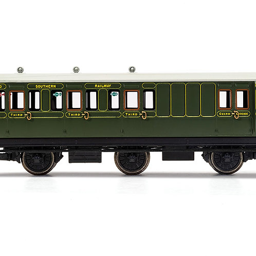 Hornby R40134 6 wheel brake 3rd 3750 in SR olive green - with interior lights -