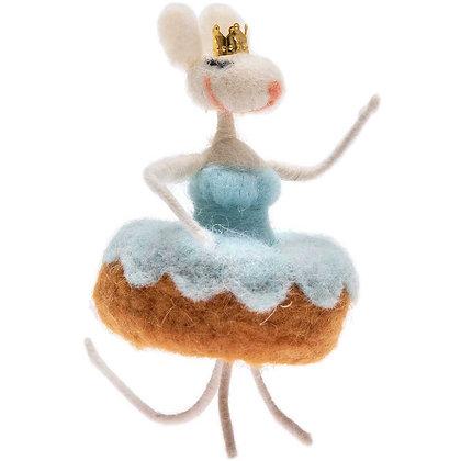 souris qui danse en feutre - bleu