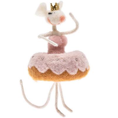 souris qui danse en feutre - rose