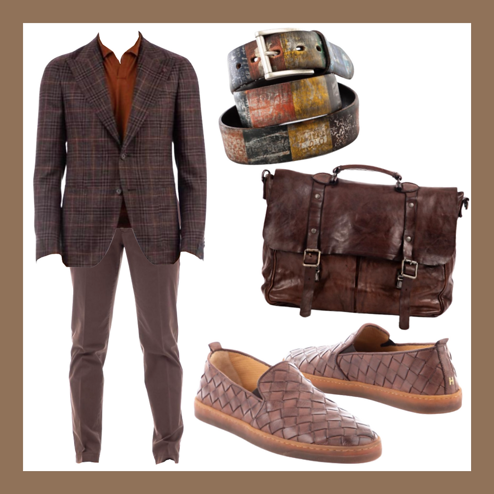 [Tagliatore] Wool-silk-linen check pattern jacket ,[Pt01] Cotton skiny pants ,[Artigianato italiano] Handcrafted leather belt ,[Campomaggi] Leather briefcase ,[Henderson] Woven leather flexible slip on,Color analysis, Four seasons color analysis, Autumn type men, Autumn color for men, Color coordinate for Autumn men, Color coordination for Autumn men, Outfit ideas for Autumn men, The best outfit ideas for Autumn men, Outfit tips for Autumn men, Best colors for Autumn men, Best suits colors for Autumn men, Best shirts colors for Autumn men, Color chart for Autumn men, Spring outfit ideas for Autumn men