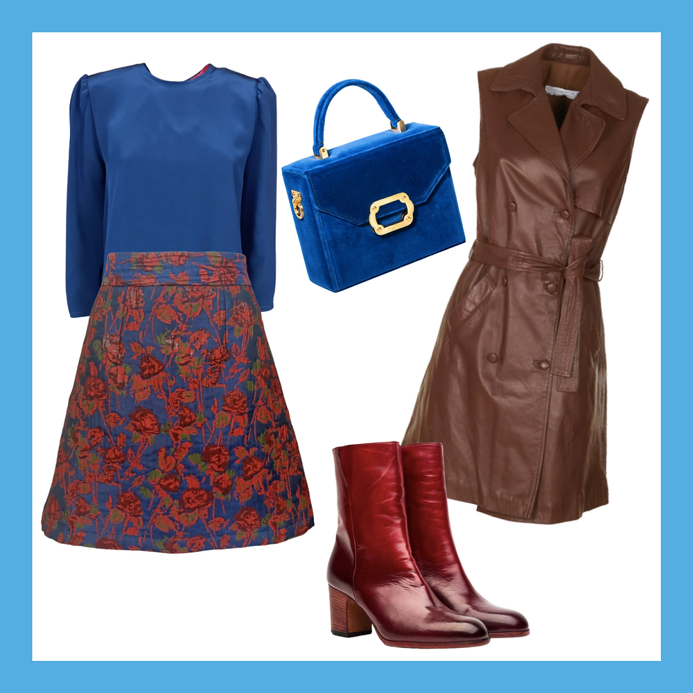 [Dromo Milano] Blue blouse, [Dromo Milano] In bloom miniskirt , [CORIUM HUB] Sleeveless trench, [Paoli]Classic bag,Color analysis, Four seasons color analysis, Winter type women, Winter color for women, Color coordinate for Winter women, Color coordination for Winter women, Outfit ideas for Winter women, The best outfit ideas for Winter women, Outfit tips for Winter women, Best colors for Winter women, Best nail colors for Winter women, Best hair colors for Winter women, Winter color palette, Autumn outfit for Winter women, Blue blouse, Flower skirts, Leather brown sleeveless jacket, Red leather ankle boots, Blue handbag
