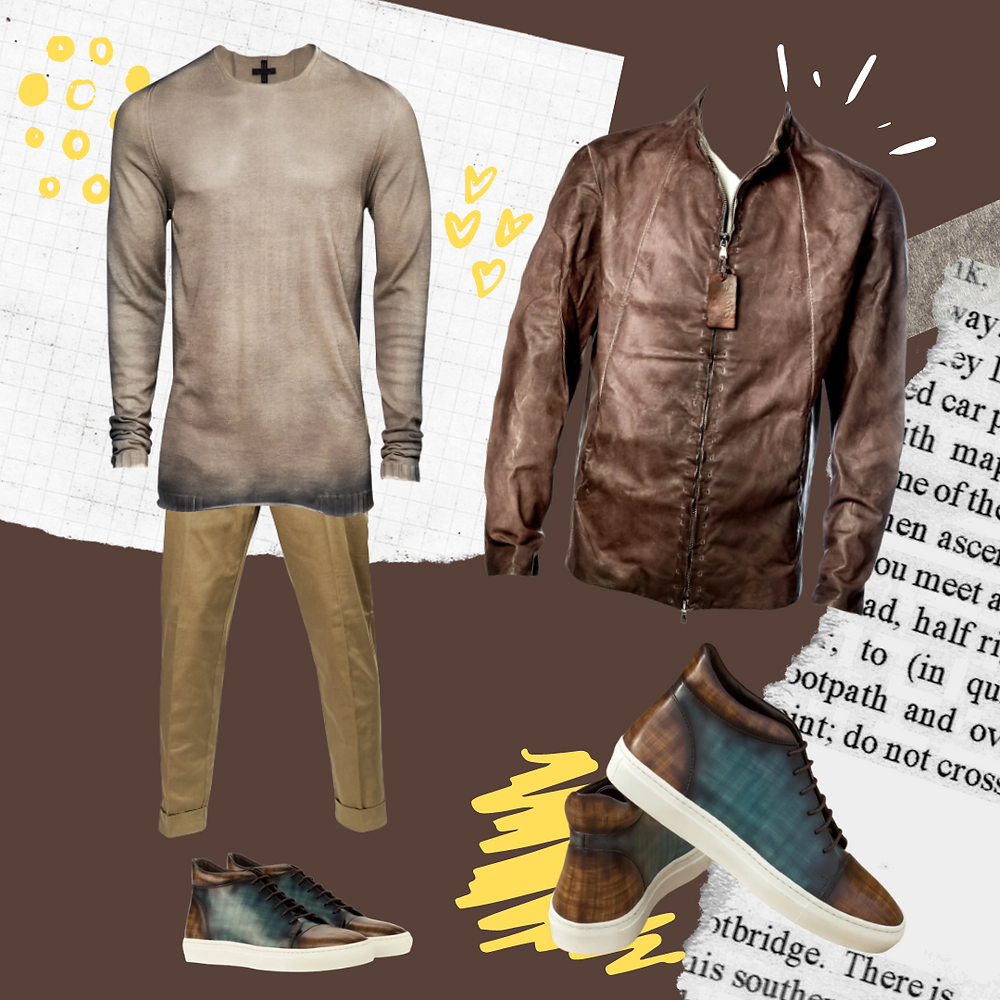 [M[D75] Knit ,[PMDS] Chino , [SHOTO] Leather jacket, Color analysis, Four seasons color analysis, Spring type men, Spring color for men, Color coordinate for spring men, Color coordination for spring men, Outfit ideas for spring men, The best outfit ideas for spring men, Outfit tips for spring men, Best colors for spring men, Best suits colors for spring men, Best shirts colors for spring men, Best tie colors for spring men, Best tie patterns for spring men, Best Suit patterns for spring men, keyword of spring men outfits, Bright, Casual, Active, Spring outfits for spring men, Spring outfits idea, Summer outfits for spring men, Summer outfits ideas, autumn outfits for spring men, Autumn outfits ideas