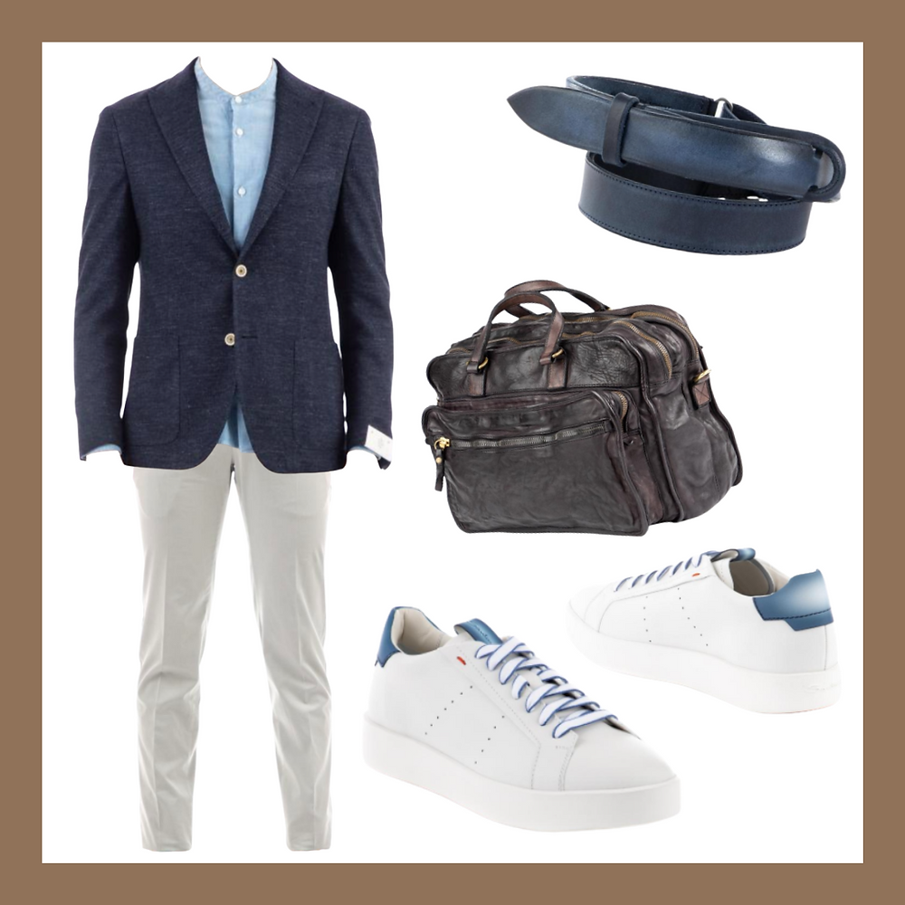 Spring outfit ideas for Winter men, [Eleventy] Linen cotton jacket , [Mason's] Travel pants , [Campomaggi] Leather messenger bag ,[Orciani]Leather no buckle belt , [Santoni] Leather sneakers, Color analysis, Four seasons color analysis, Winter type men, Winter color for men, Color coordinate for Winter men, Color coordination for Winter men, Outfit ideas for Winter men, The best outfit ideas for Winter men, Outfit tips for Winter men, Best colors for Winter men, Best suits colors for Winter men, Best shirts colors for Winter men