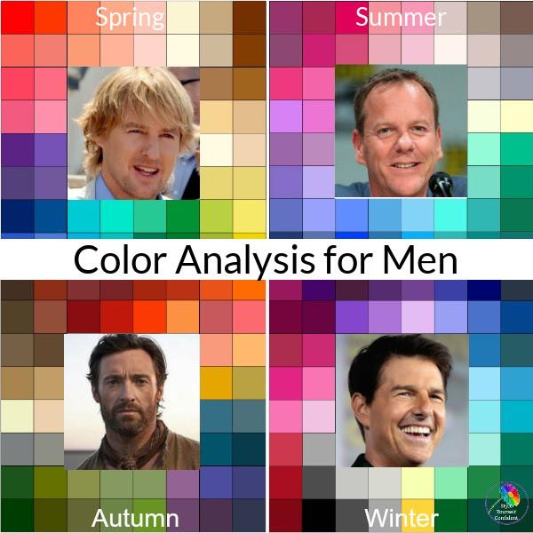 Spring color, Summer color, Autumn color, Winter color, color analysis for men, mens color pallett