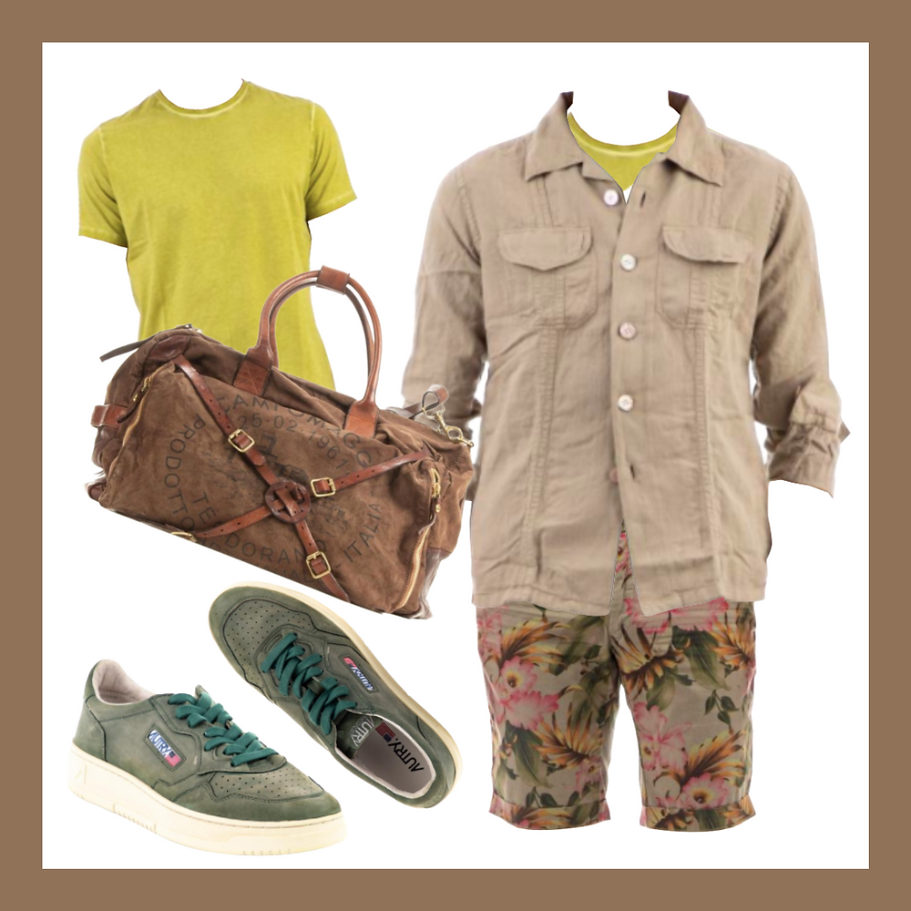 [Mason's] Flower pattern bermuda short ,[Eleventy] Cotton-linen over shirts ,[Ploumanac'h] Frosted cotton T-shirts ,[Autry] Vintage goat leather sneaker ,[Campomaggi] Canvas travelbag,Color analysis, Four seasons color analysis, Autumn type men, Autumn color for men, Color coordinate for Autumn men, Color coordination for Autumn men, Outfit ideas for Autumn men, The best outfit ideas for Autumn men, Outfit tips for Autumn men, Best colors for Autumn men, Best suits colors for Autumn men, Best shirts colors for Autumn men, Color chart for Autumn men, Spring outfit ideas for Autumn men, Summer outfit ideas for Autumn men,