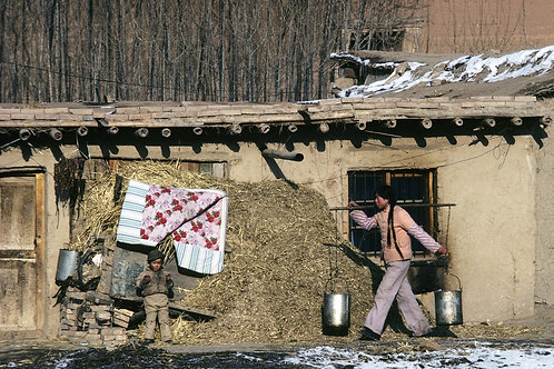 Scène de vie à la campagne, Chine du nord, 1987