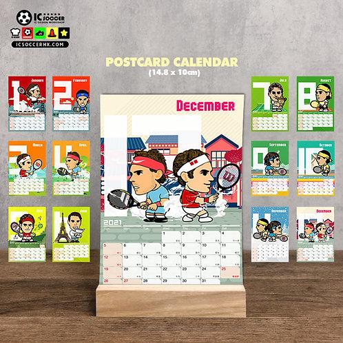 CD007 網球 2021年 POSTCARD X 座枱月曆