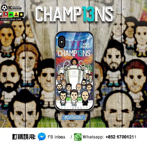 CASE067 皇馬歐聯13冠 鋼化玻璃電話套