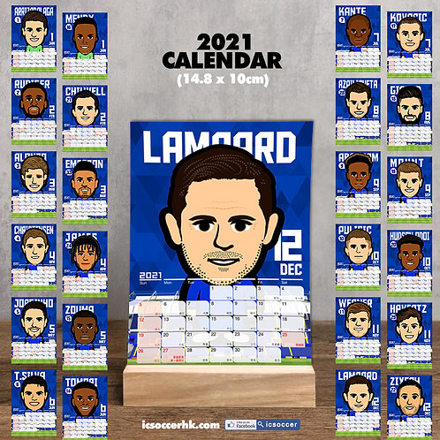 CD012  車仔 2021年  雙面月曆卡 連 實木底座