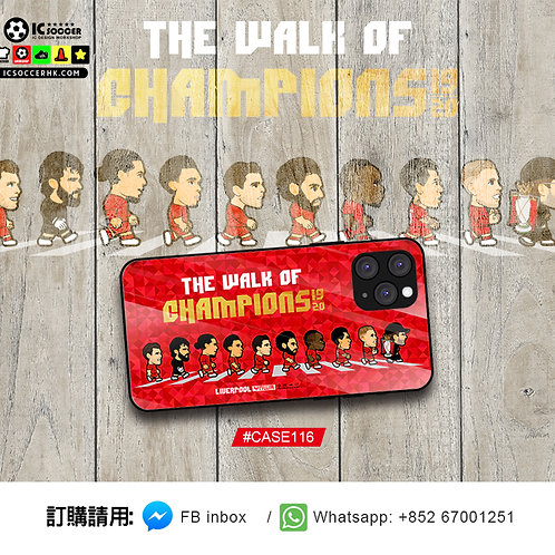 CASE116 利記 THE WALK OF CHAMPIOINS  鋼化玻璃電話套