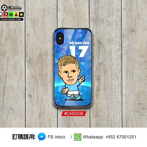 #CASE038 曼城迪布尼  鋼化玻璃電話套