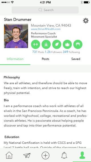 FitChirp app professional profile