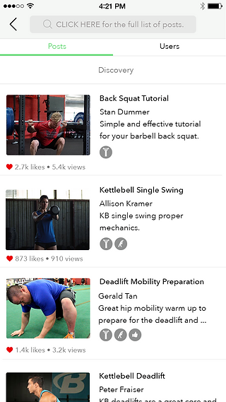 FitChirp app post discovery page