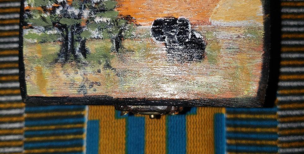 Intention box w/ hand-painted Elephant scene