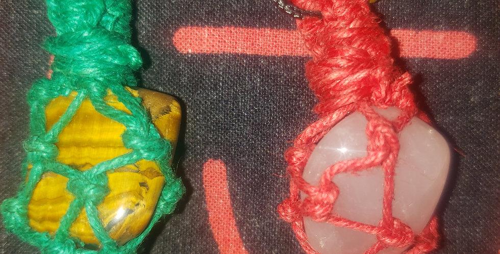 macrame wrapped stones