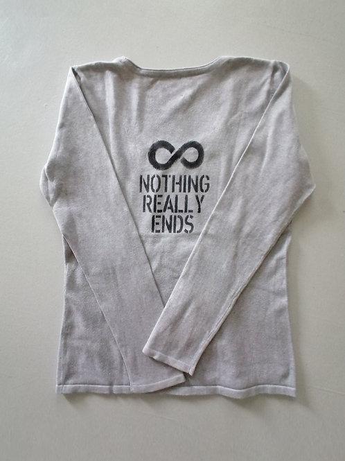 T-shirt color grigio chiaro manica lunga plissée M