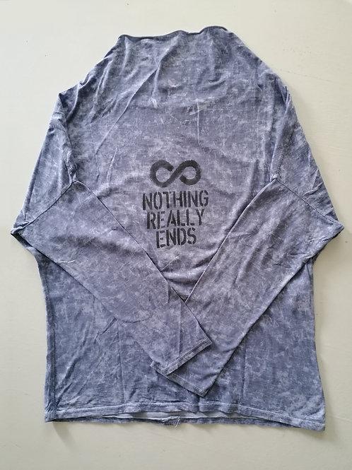 T-shirt color grigio mélange collo sciallato manica lunga L