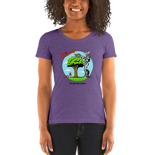 Roman the Robot Lends a Hand - Full Color Ladies' Short Sleeve T-Shirt