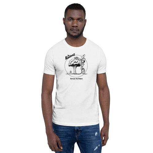 Roman the Robot Lends a Hand - Black Line Short-Sleeve Unisex T-Shirt