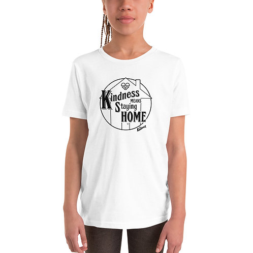 Kindness Means Staying Home - Black Line Youth Short Sleeve T-Shirt