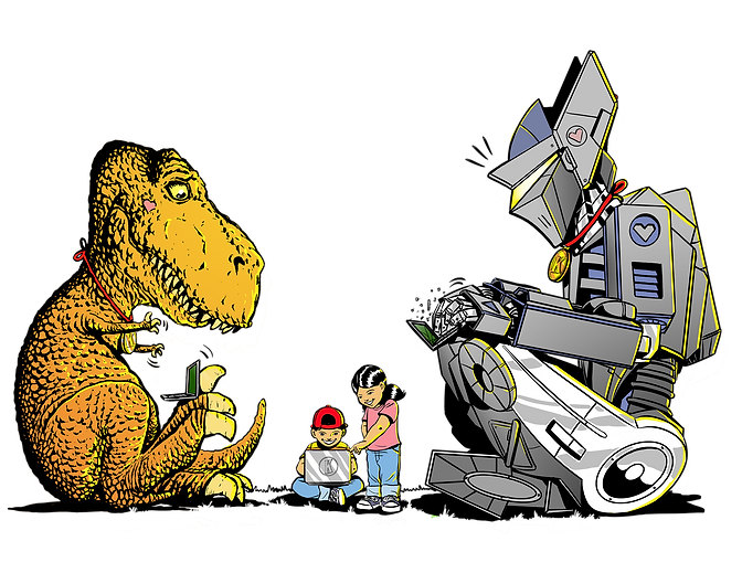 Tobi the T-Rex Rosie and Pete Roman the Robot The Kindeez