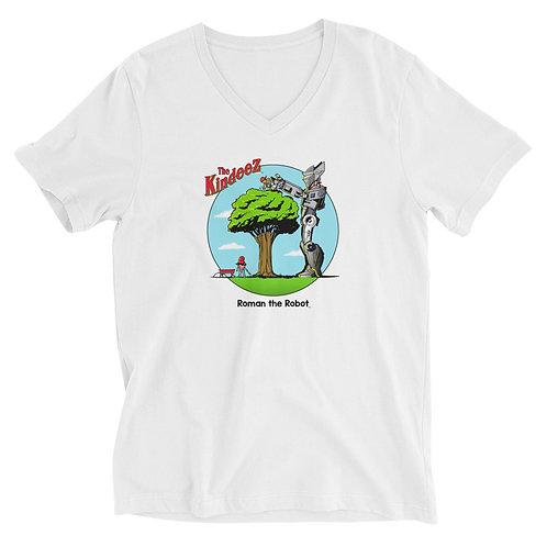 Roman the Robot Lends a Hand - Full Color Unisex Short Sleeve V-Neck T-Shirt