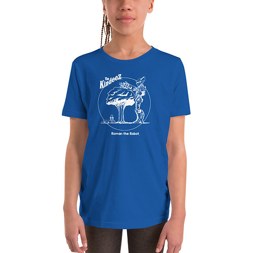 Roman the Robot Lends a Hand - White Line Youth Short Sleeve T-Shirt