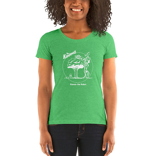 Roman the Robot Lends a Hand - White Line Ladies' Short Sleeve T-Shirt