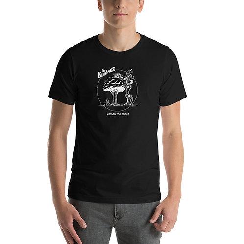 Roman the Robot Lends a Hand - White Line Short-Sleeve Unisex T-Shirt
