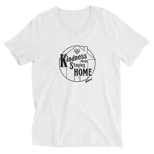 Kindness Means Staying Home - Black Line Unisex Short Sleeve V-Neck T-Shirt