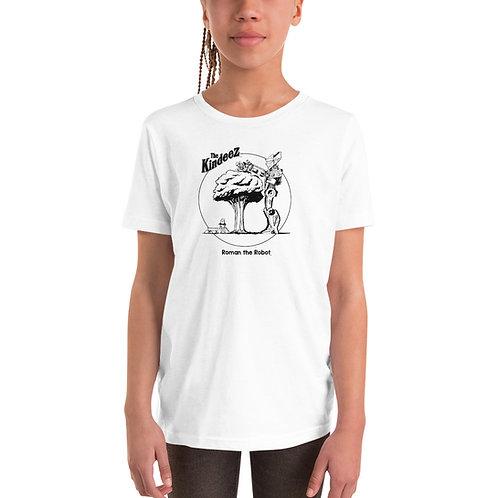 Roman the Robot Lends a Hand - Black Line Youth Short Sleeve T-Shirt