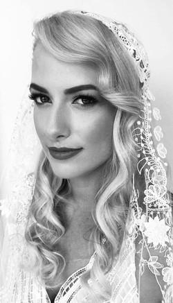 Styled long hair with veil